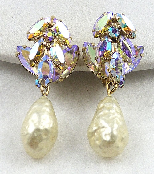 Bridal, Wedding, Special Occasion - Vendome Aurora and Pearl Drop Earings