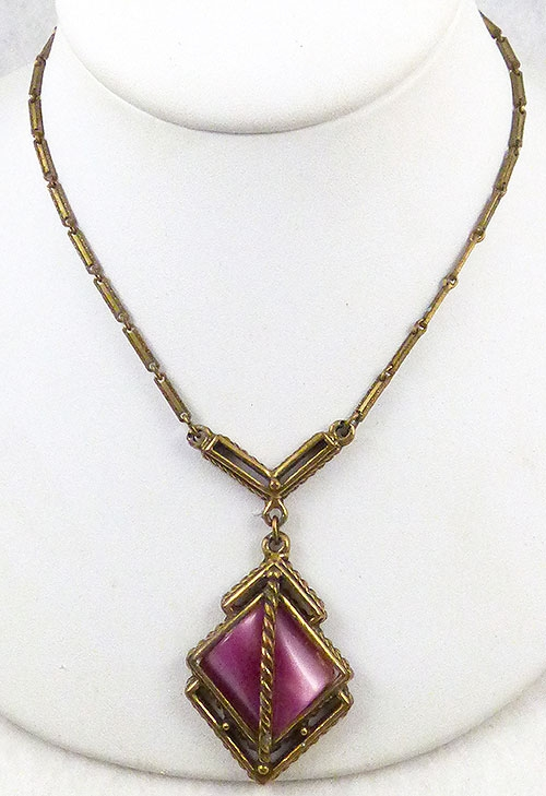 Necklaces - Deep Pink Moonglow Lucite Necklace