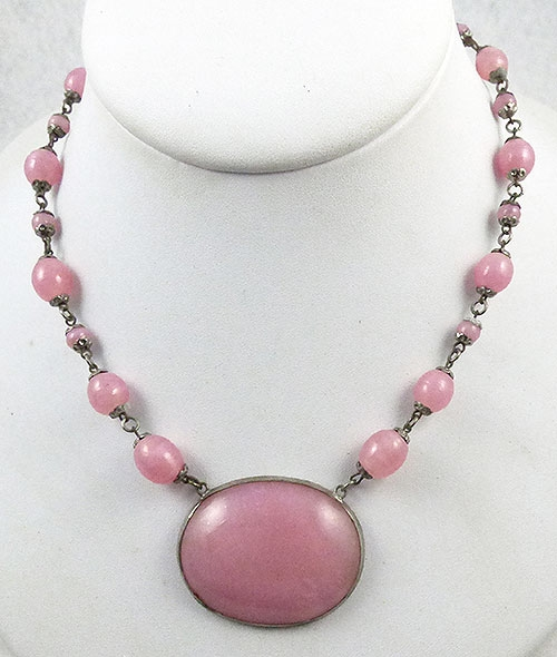 Necklaces - Czech Pink Glass Necklace
