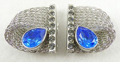 Misc. Signed A-F - Mary Frost Silver Mesh Earrings