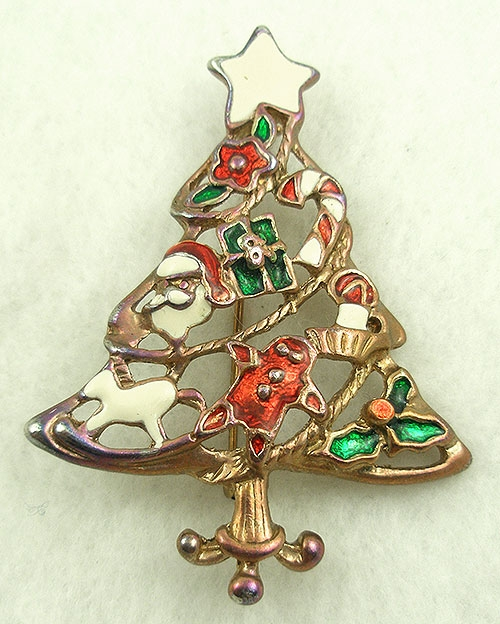 $25 or Less - Enameled Ornaments Christmas Tree Brooch