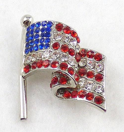 Patriotic Jewelry - Rhinestone American Flag Brooch
