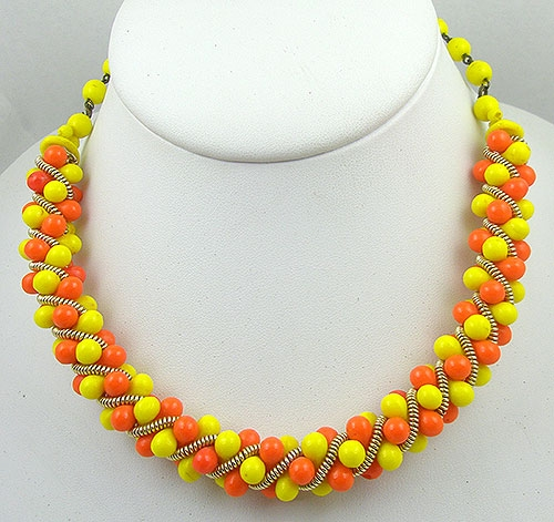 Necklaces - W.Germany Yellow and Orange Bead Necklace