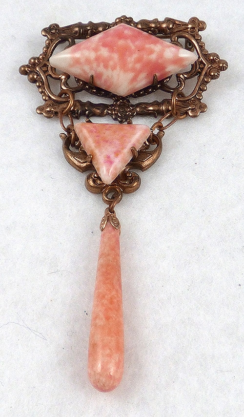 Brooches - Czech Coral Glass Dangle Brooch