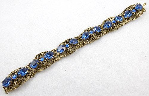 Czechoslovakia - Czech Filigree Sapphire Rhinestone Bracelet