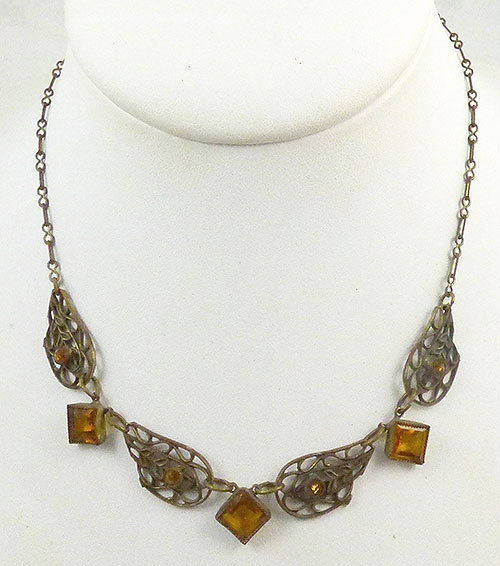 Newly Added Czech Brass Filigree Topaz Necklace