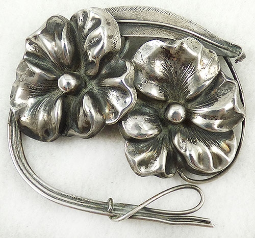 Brooches - Mid Century Modern Sterling Flowers Brooch