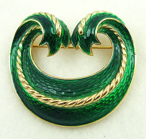 Crowns & Heraldic Jewelry - Trifari Green Enamel Swag Brooch