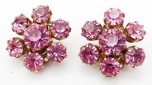 Earrings - Weiss Pink Rhinestone Earrings