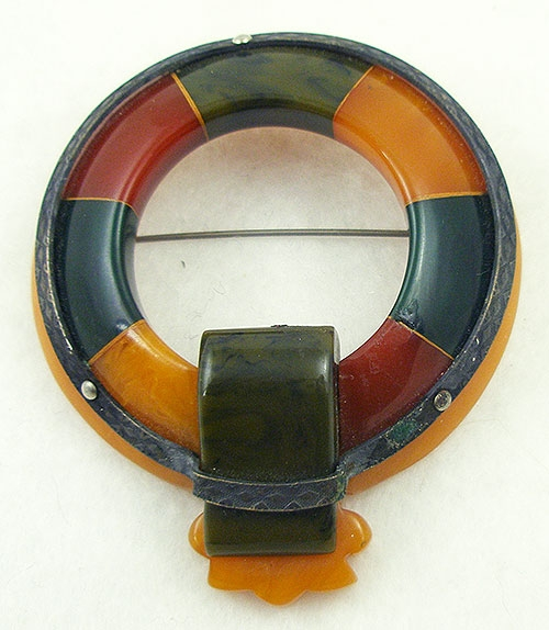 Autumn Fall Colors Jewelry - Bakelite Scottish Style Garter Brooch