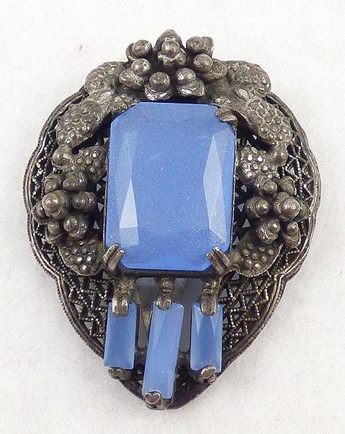 Czechoslovakia - Czech Periwinkle Blue Glass Dress Clip
