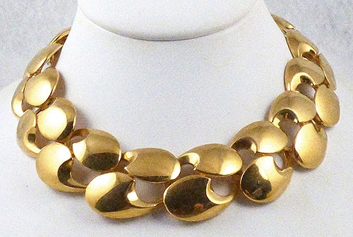 Necklaces - Wide Gold Link Necklace