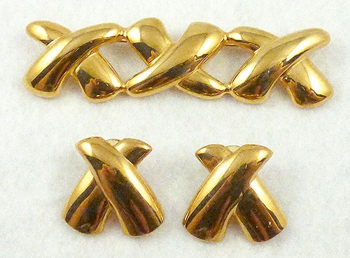 Sets & Parures - Gold Plated Triple X Brooch Set