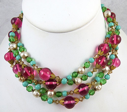Haskell, Miriam - Miriam Haskell Glass Bead & Pearl Necklace