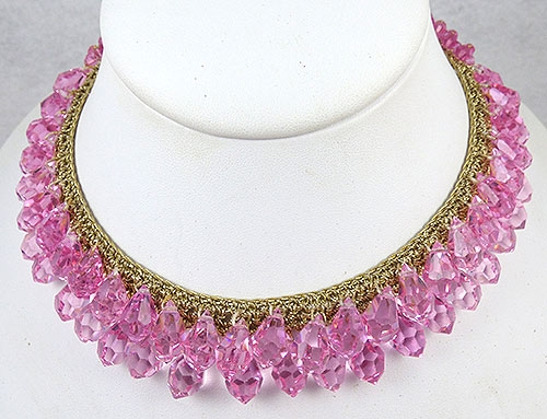 Crystal Bead Jewelry - Pink Crystal Briolettes Necklace