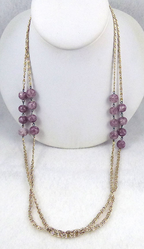 Trend: Fall-Winter 2018-2019 Necklaces - Purple Stone Bead Gold Chain Necklace