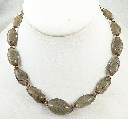 Winter Colors Jewelry - Foggy Gray Murano Glass Bead Necklace