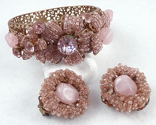 Rose Quartz and Serenity Blue Colored Jewelry - Amourelle pink flowers hinged bracelet earrings set