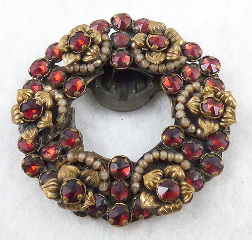 Garnet Jewelry - Czech Garnet Glass Wreath Dress Clip