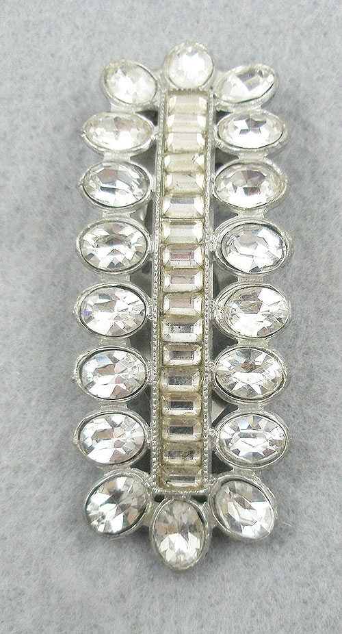 Dress & Fur Clips - 1930's Art Deco Rhinestone Dress Clip