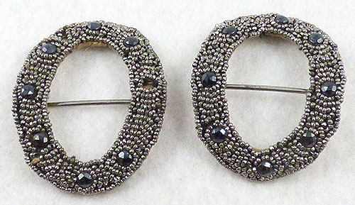 France - French Cut Steel Bead Shoe Buckles