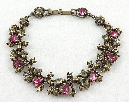 Hollycraft - Hollycraft Pink Rhinestone Bracelet