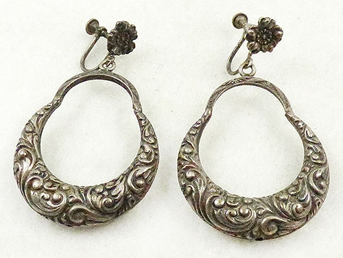 Newly Added Silver Repoussé Hoop Earrings