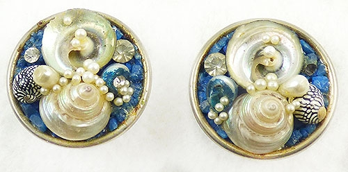 Natural Shell - Seashell and Crushed Rock Earrings