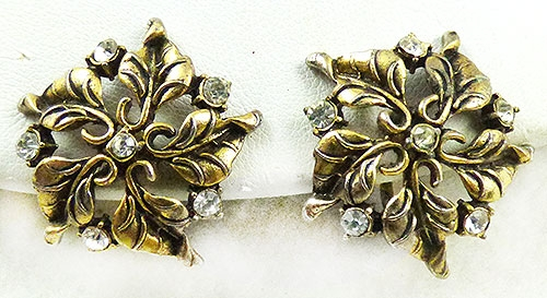 Newly Added Antique Gold Tone Leaves Earrings