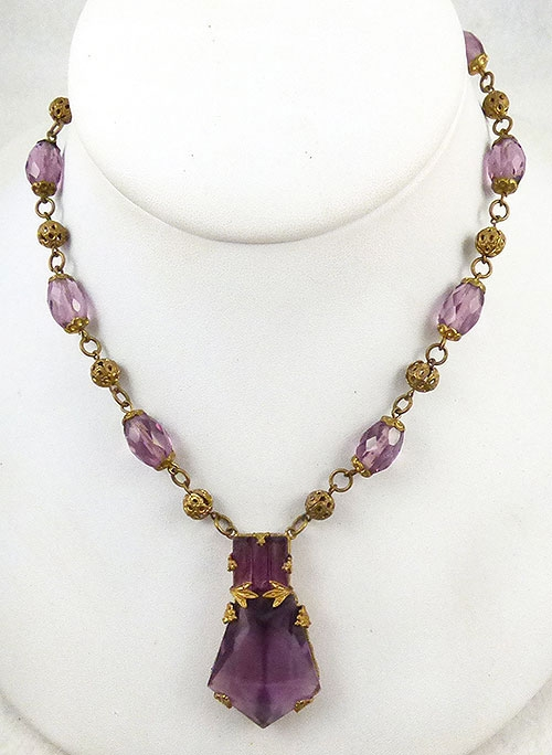 Newly Added Art Deco Amethyst Glass Necklace