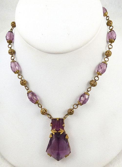 Necklaces - Art Deco Amethyst Glass Necklace
