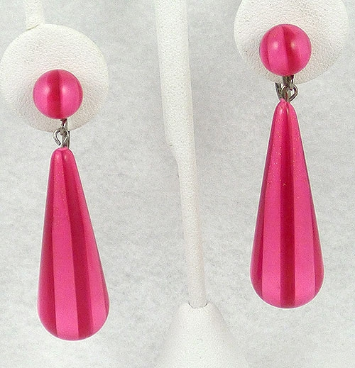 Summer Hot Colors Jewelry - Pink Striped Lucite Drop Earrings