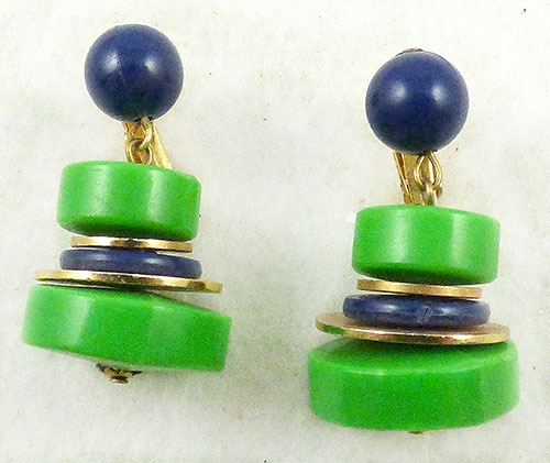 Earrings - Green and Navy Stacked Donut Bead Earrings