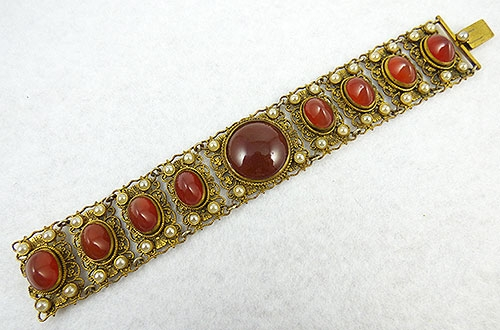 Autumn Fall Colors Jewelry - Austria Filigree Carnelian Bracelet