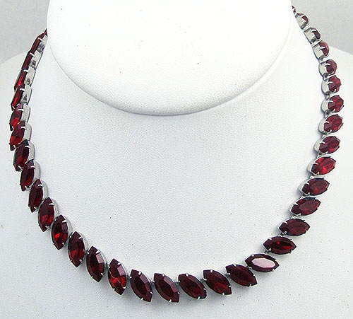 Misc. Signed A-F - Fenichel Red Rhinestone Necklace
