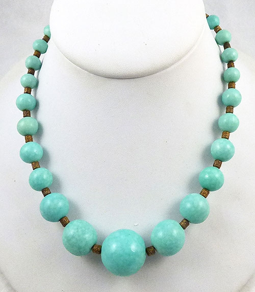 Necklaces - French Art Deco Aqua Glass Bead Necklace