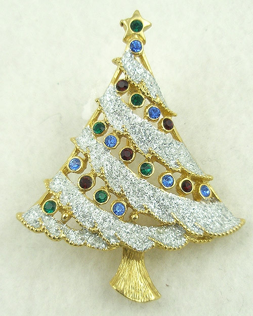 Christmas and Holidays - Glittery Snow Christmas Tree Brooch