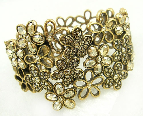 Contemporary - Oscar de la Renta Crystal  Flowers Bracelet