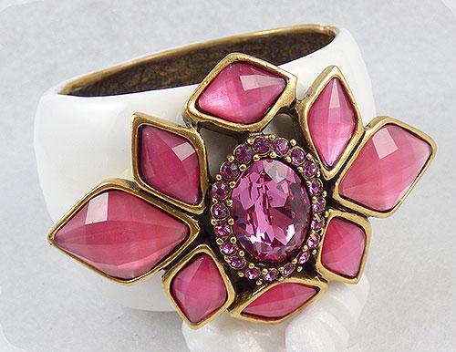 Summer Hot Colors Jewelry - Oscar de LA Renta Pink Jeweled Cuff Bracelet
