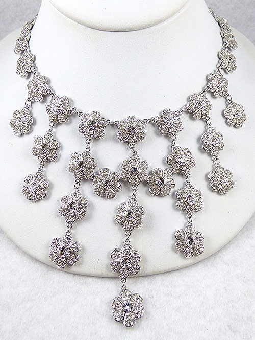 Lane, Kenneth J. - Kenneth Lane Rhinestone Flowers Bib Necklace