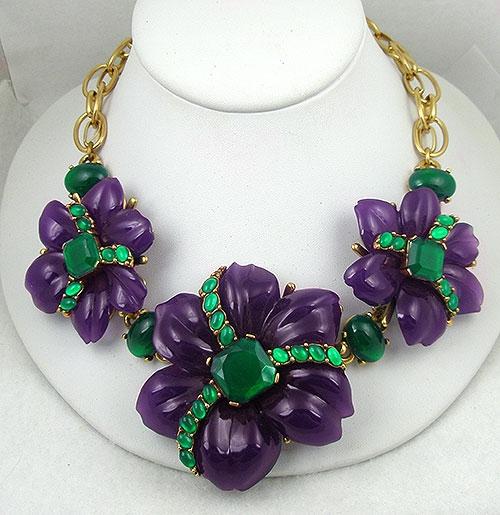 Collectible Contemporary - Oscar de La Renta Purple Flowers Necklace