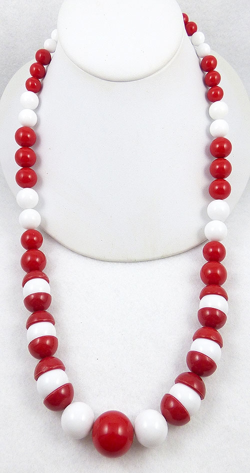 England - B.E.Cook Red and White Bead Necklace