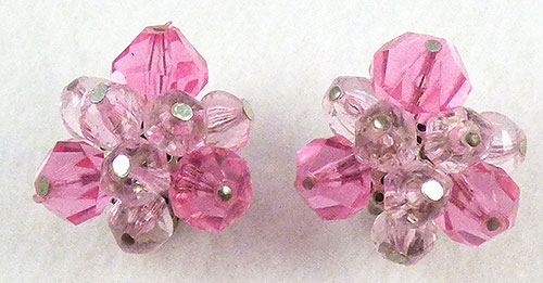 Germany - West Germany Pink and Lavender Bead Earrings