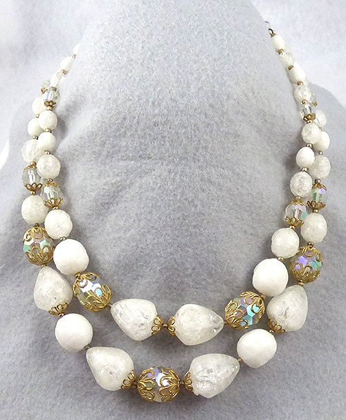 Necklaces - W. Germany White Bead Necklace