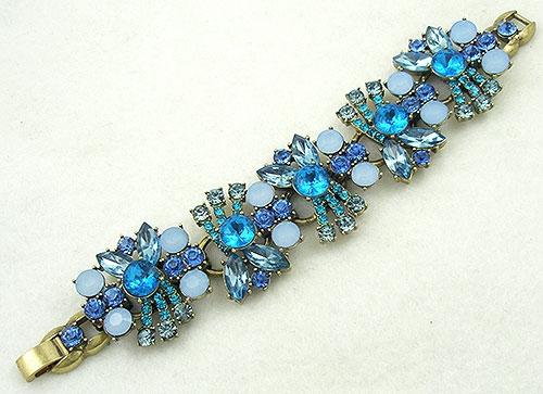 Contemporary - Contemporary Aqua and Blue Rhinestone Bracelet