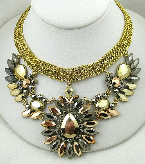 Necklaces - Gold & Bronze Rhinestone Necklace