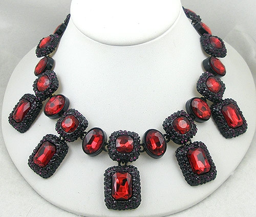 Contemporary - Contemporary Japanned Red Rhinestone Necklace