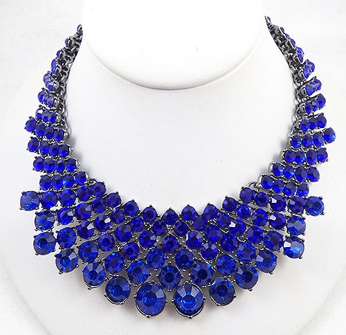 Necklaces - Vibrant Cobalt Blue Rhinestone Bib Necklace