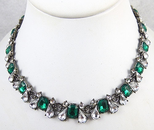 Necklaces - Emerald & Clear Resin Stone Choker Necklace