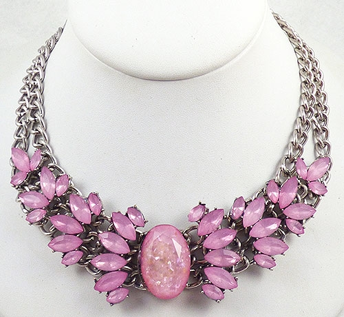 Necklaces - Pink Resin Confetti Navette Stone  Necklace
